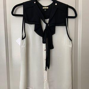 Tie neck tank blouse